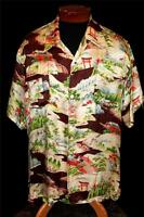 "Rarest Collection Quality 1940's ""Pearl Line"" Fine Silk Satin Hawaiian Shirt XL"