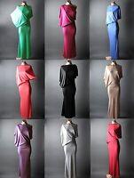 Casual Womens Asymmetric Off Shoulder Boat Neck Long Maxi Dress S M L XL 2XL 3XL