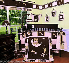Baby Boutique - Pink Bear & Moon - 13 pcs Crib Nursery Bedding Set