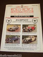ROLLS ROYCE ENTHUSIASTS CLUB ADVERTISER #93 - MARCH 1990 HAMPSON
