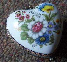 Flower Heart Shaped porcelain Trinket ring jewelry Pill Box figurine gift