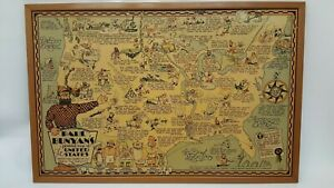 VINTAGE 1935 PAUL BUNYAN PICTORIAL MAP BY RD HANDY FRAMED 20X30