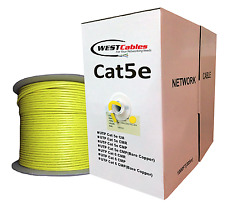Cat5e Plenum 1000ft Bare Copper Ethernet Cable Bulk UTP 350MHz - Yellow