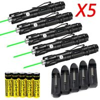 5x Military Green Laser Pointer Pen 50Miles Beam Light+18650 Battery+5x Charger