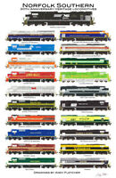 "Norfolk Southern Heritage Locomotives 11""x17"" Poster Andy Fletcher signed"