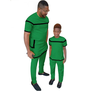 African Family Senator Style Short Sleeve Matching Set Dad and Son Y31840