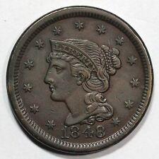 1848 N-40 R-3 Braided Hair Large Cent Coin 1c