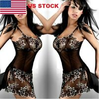 Women Lace Sexy/Sissy Babydoll G-String Underwear Lady Lingerie Mini Dress GW