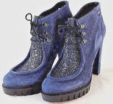 WOW Cooler LIU JO Leder Damen Stiefelette Plateau Schnürung blau Gr 40 NEU Y10