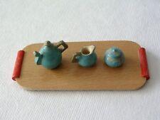 Uralt Puppengeschirr Miniatur Puppenhaus Puppenstube 1900 Kernstück +Holztablett