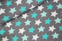 """Jersey """" Megastars """" große Sterne - grau Mint - Kinderstoff"""