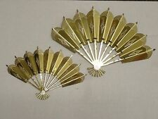 Vintage Home Interiors Wall Plaques ~ (2) Victorian Fans ~ Brass