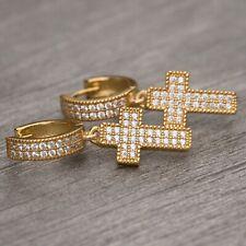 Men Cross Drop Dangle Hoop Earrings High Quality 14K Gold 925 Sterling Silver