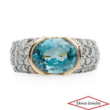 Estate Diamond 3.33ct Blue Topaz 14K Gold Pave Ring 6.6 Grams NR