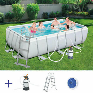 BESTWAY Power Steel Pool Swimmingpool Sandfilter Leiter Rechteckig 404x201x100cm