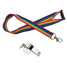 GAY LESBIAN RAINBOW MARDI GRAS GAY PRIDE HI QUALITY LANYARD & WHISTLE - UK