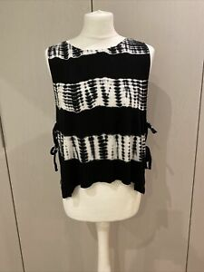 NYTT Black & White Tie Dye Crop Tank Top with Tied Sides - Small