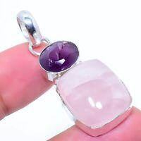 "Rose Quartz, Amethyst Gemstone Handmade 925 Silver Jewelry Pendant 1.97"" AL-9144"