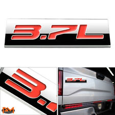 """3.7L"" Polished Metal 3D Decal Red Emblem Logo For Ford/Infiniti/Lincoln/Nissan"