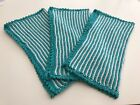 Set Of 3 Hand-Knitted Cotton Washcloths / Dishcloths