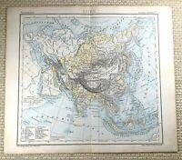 1882 Antik Map Of Asien Die Orient Fern East China Physical Deutsch 19th Century