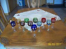 Multi-Colored Gold Scroll Crystal Swirl Long Stemmed Vintage 12 Wine Glasses