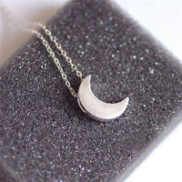 Fashion Women Silver &Gold Tone Chain Crescent Moon Pendant Necklace Jewelry