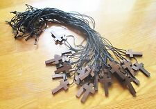 Wholesale Lot of 30 Small Wood Crosses on Black Cord Necklaces