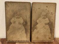 2 CDV Baby Photos of Emily Severn Esterly Taken Sept 1883, Allen, Pottsville, PA