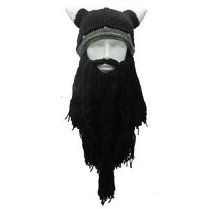 Funny Cosplay Men Knitted Viking Beard Horn Hat Ski