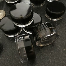 12 Cosmetic Jars Empty Plastic Sample Beauty Containers Pot 3 Gram Ml Black Lid.