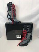 "Colin Stuart Black Grey Leather High Heel Shoes Size 5 3 3/4"" Hip Stylish"