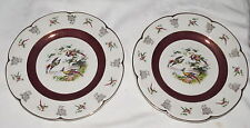 """Wood and Sons Ascot Birds Exotic Pheasants Two 10.3/4"""" Dinner Service Plates"""
