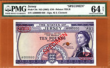 Jersey 10 Pounds QEII ND (1963) SPECIMEN Pick-10s Ch UNC PMG 64