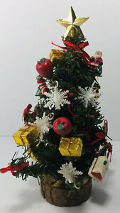 Mini Tabletop Christmas Tree Decorated Wood Base Gold Star Presents Snowflakes