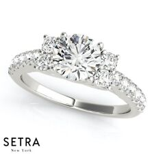 Cluster Sides Diamond Engagement Ring