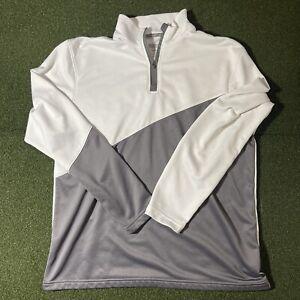 New Balance Performance Mens L White Gray 1/4 Quarter Zip Athletic Jacket