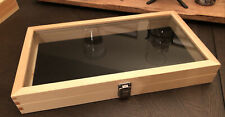 One 1natural Wood Glass Top Display Case Storage Box With Removable Velvet Pad