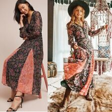 NWT Anthropologie Laia Long Sleeve Floral Maxi Dress Small S Button Front Patch