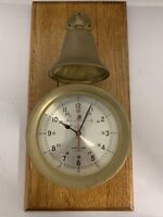 SHIP'S TIME Brass Quartz Wall Clock  with Bell, mounted on Solid Wood, Very nice