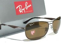 NEW* Ray Ban AVIATOR POLARIZED Bronze Lens Gunmetal Matte Frame RB 3519 59mm