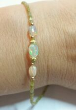 GENUINE 6CT CANARY YELLOW DIAMOND ETHIOPIAN FIRE OPAL BRACELET SOLID 14K GOLD