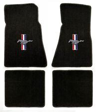 NEW! Black Floor Mats 65-73 Mustang Convertible Pony Bars Embroidered Logo set 4