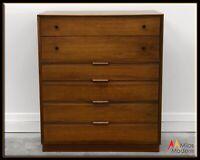 Mid Century Modern American Martinsville Walnut Wood Sculpted Highboy Dresser
