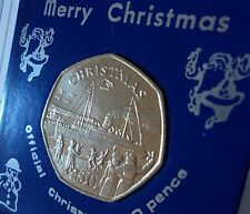 1990 Isle of Man Christmas Ocean Liner 50p Coin BU Hunt Collector Gift in Case