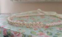 Ladies Girls Forehead Halo Blush pink Pearl Diamante Bridal Bridesmaid ivory