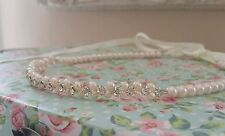Ladies Girls Forehead Halo Blush pink Pearl Diamante Bridal Bridesmaid ivory