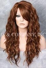 Heat Resistant Long Curly Wavy Full Body Wig Blonde Auburn mix HSP 27-30-33