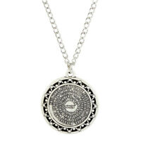 "Silver Tone Hail Mary Prayer Circle Pendant Necklace 1 1/8"" Diameter - 18"" Chain"