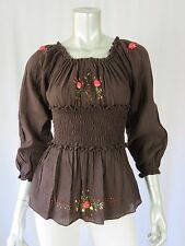 ONE OF A KIND SZ XS  Brown Thin Cotton Ruched at Waistline  Blouse Top Shirt